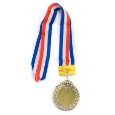 silver medal with ribbon